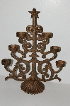 "MBA #S13-053   ""Older Large Antiqued Finished Wrought Iron Christmas Tree Votive Candle Holder"""
