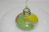 "MBA #S13-189   ""Art Glass Yellow, Brown & Green Perfume Bottle With Glass Stopper"""