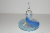 "**MBA #S13-084   ""Art Glass White,Blue & Turquoise Perfume Bottle With Glass Stopper"""
