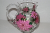 "MBA #S13-205   ""One Of A Kind Hand Painted Pink Poinsettia Glass Pitcher"""