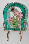 "MBA #S13-182  ""Beautiful 3D Stained Glass Flowers & Dragonfly Suncatcher With Stand"""