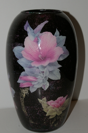 "MBA #S13-073   ""One Of A Kind Pink Floral Hummingbird Reverse Decapage Glass Vase"""