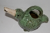 "MBA #S13-081  ""Older Large Green Ceramic Bird Plant Water Can"""