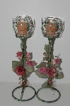 "MBA #S13-090  ""Older Set Of 2 Antiqued Green Metal & Rose Candle Holders"""