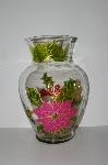 "MBA #S28-293   ""Older One Of A Kind Hand Painted Pink Poinsettia Flower Vase"""