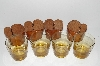 "**MBA #S28- 233   ""Set Of 4 Amber Glass Tumblers With Hand Tooled Leather Drink Holders"""