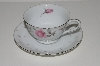 "+MBA #S18-107  12 Piece     ""Charmaine By Sango Pink Roses & Platinum Trim Tea Cup & Saucer Set"""