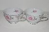 "+MBA #S18-111   ""Charmaine By Sango Pink Roses & Platinum Trim Set Of 2 Tea Cups"""