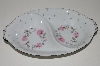 "+MBA #S18-127     ""Charmaine By Sango Pink Roses & Platinum Trim Oval Divided Vegetable Serving Bowl"""