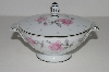 "+MBA #S18-140     ""Charmine By Sago Pink Roses & Platinum Trim Sugar Bowl With Lid"""