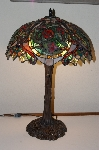 """SOLD"" **MBA #S18-003    ""Older Red Rose Fancy Stained Glass Lamp"""