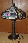 "MBA #S19-009   ""Older Beautiful Pink & Purple Rose Stained Glass Table Lamp"""