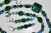 "MBA #B1-162  ""Green & Blue Glass Bead Necklace & Earring Set"""