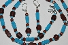 "MBA #B1-153   ""Turquoise, Brown & Copper Glass Bead Necklace & Earring Set"""