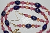 "MBA #B1-126  "" Fancy Pink & Blue Glass Bead & Pearl Necklace & Earring Set"""