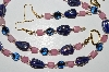 "MBA #B1-120   ""Blue & Pink Glass Bead Necklace & Earring Set"""