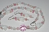 "MBA #B1-059  ""White,Clear & Pink Glass Bunny Bead necklace & Earring Set"""
