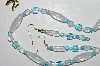"MBA #B1-078  ""Blue & Clear Glass Bead Necklace & Earring Set"""