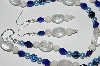 "MBA #B1-087  ""Clear, Blue, Cream Glass Bead & Pearl Necklace & Earring Set"""