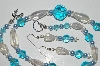 "MBA #B2-087  ""Crystal Luster, Blue Bead & Pearl Necklace & Earring Set"""