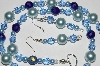 "MBA #B2-084   ""Blue Glass Pearl & Crystal Bead Necklace & Earring Set"""