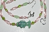 "MBA #B2-066  ""Fancy Lamped Worked Glass Fish, Pink & Green Glass Bead Necklace & Earring Set"""