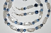 "MBA #B2-054  ""Clear Luster & Blue Glass Bead Necklace & Matching Earring Set"""