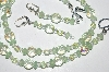 "MBA #B2-042  ""Matte Green Glass Bead & Crystal Necklace & Earring Set"""