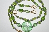 "MBA #B3-055  ""Luster Lime Green Glass Bead Necklace & Matching Earring Set"""