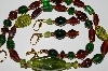 "MBA #B3-052  ""Breon & Green Lamp Worked Glass Bead Necklace & Earring Set"""