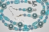 "MBA #B3-082   ""Aqua Blue Glass Bead,Clear Crystal & Blue Pearl Necklace & Earring Set"""