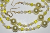 "MBA #B3-085  ""Yellow Glass Bead,Crystal & Pearl Necklace & Earring Set"""