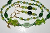 "MBA #B3-028  ""Green Glass bead & Crystal Fish Necklace & Earring Set"""