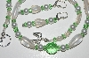 "MBA #B3-097  ""Tranlucent Clear Glass Bead,Green Crystal & Pearl Necklace & Earring Set"""