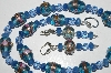 "MBA #B3-100  ""Fancy Blue Glass Lamp Worked Beads, Blue Gemstone & Crystal Bead Necklace & Earring Set"""