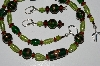 "MBA #B3-037  ""Fancy Green & Brown Glass Necklace & Earring  Set"""