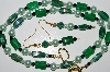 "MBA #B4-3024  ""Green Gemstone,Glass Bead & Pearl Necklace & Matching Earring Set"""