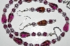 "MBA #B4-2962  ""Purple Glass, Crystal & Pearl Necklace & Matching Earring Set"""