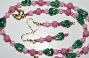 "MBA #B4-2959  ""Pink Lepidolite, Green Luster Glass & Pearl Necklace & Matching Earring Set"""