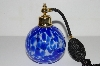 "MBA #B4-3033  ""Blue Art Glass Atomizer Perfume Bottle"""