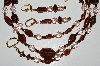"MBA B5-03   ""Brown Glass Bead & Pink Crystal Necklace & Matching Earring Set"""