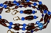 "MBA #B5-060  ""Brown Glass & Blue Crystal Bead Necklace & Matching Earring Set"""