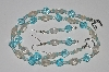 "MBA #B5-066  ""Fancy Blue & Clear Glass Bead Necklace & Matching Earring Set"""
