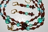 "MBA #B5-024   ""Brown ,Copper Colored Glass Bead & Blue Crystal Necklace & Earring Set"""