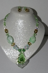 "MBA #B5-113  ""Fancy Green.White,Pink & Breown Glass Lampworked Bead Necklace & Earring Set"""