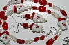 """SOLD PW""MBA #B6-006  ""Fancy Santa Glass Bead  Necklace & Matching Earring Set"""