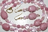 "MBA #B6-065  ""Fancy Lepidolite, Pink Crystal & Glass Bead Necklace & Matching Earring Set"""