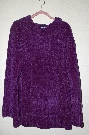 "MBAHB #19-103  ""Denim & Co. Purple Chenille Long Hooded Pullover Sweater"""