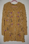 "MBAHB #19-098  ""Denim & Co Gold Chenille Floral Hooded Sweater Coat"""
