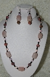 "MBAHB #19-268  ""Rose Quartz,Rhodonlite,Pink Ab & Black Crystal Necklace & Earring Set"""